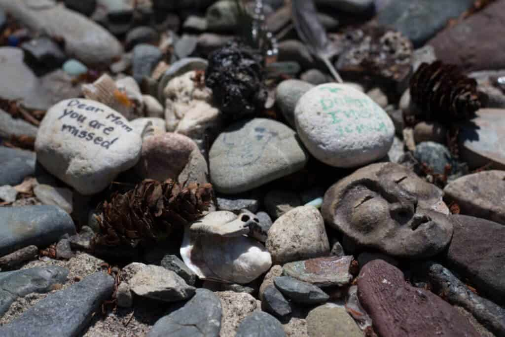 Offerings left at the Bainbridge Island Labyrinth