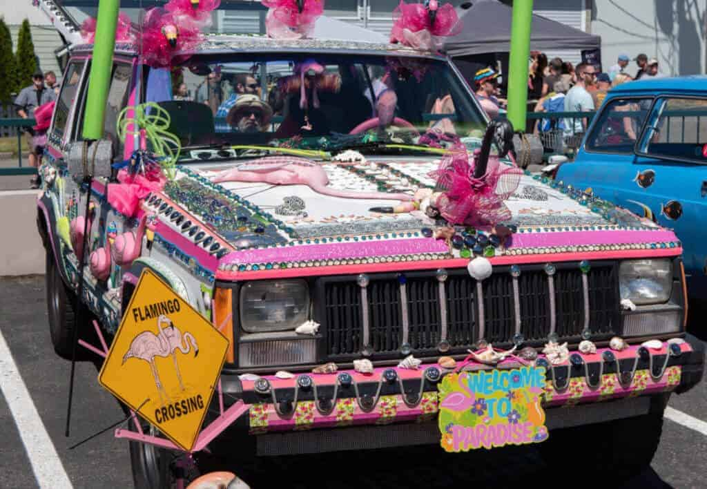 The Flamingo Crossing Car