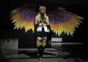Cosplayer with wings from SakuraCon Seattle