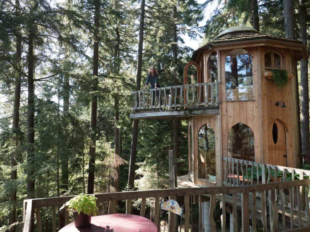 Tower Deck at the Forest House on Orcas Island pacific northwest treehouses
