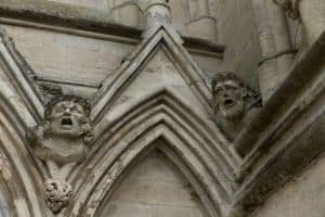 Stone heads of Salisbury cathedral.