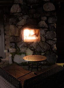 Fireplace at the Medina Waterfront Cabin