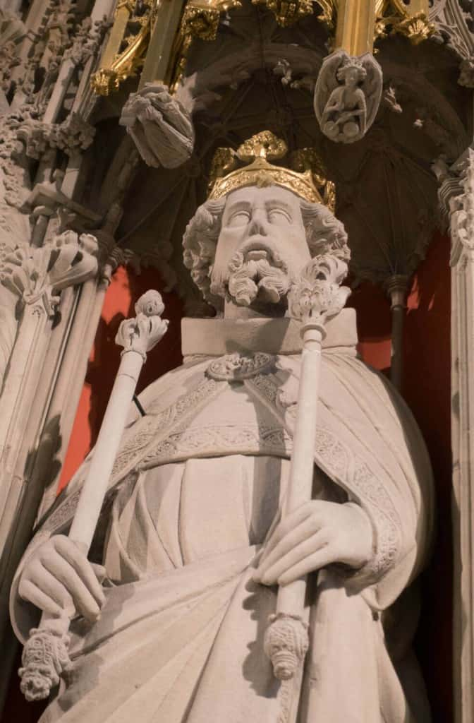 A closeup of Henry III from the York Minster Kings Screen York Minster Choir Screeen