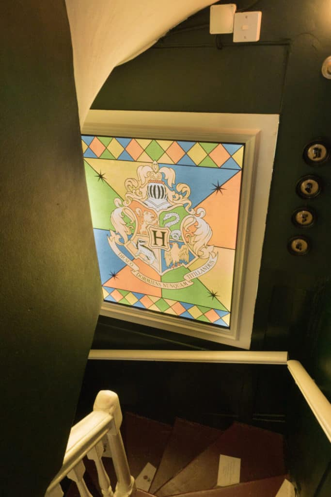 Hogwarts crest window at the House of MinaLima in London