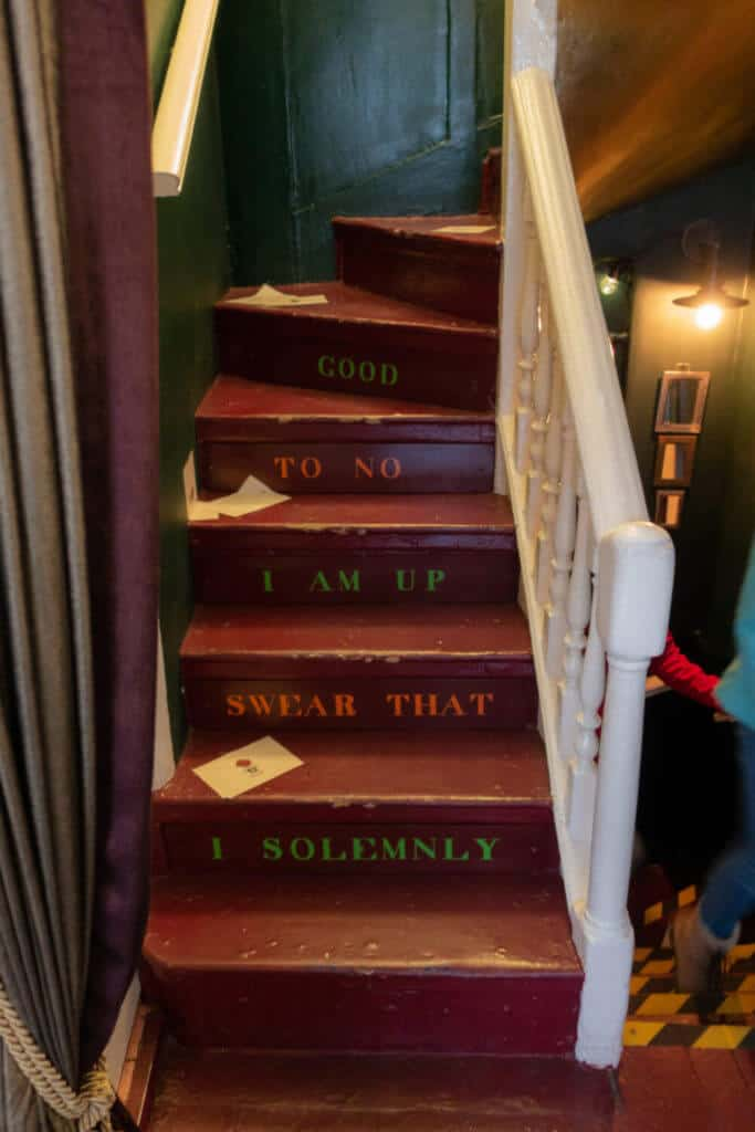 Harry Potter Marauder's Map themed stairway at London's House of MinaLima Harry Potter gallery