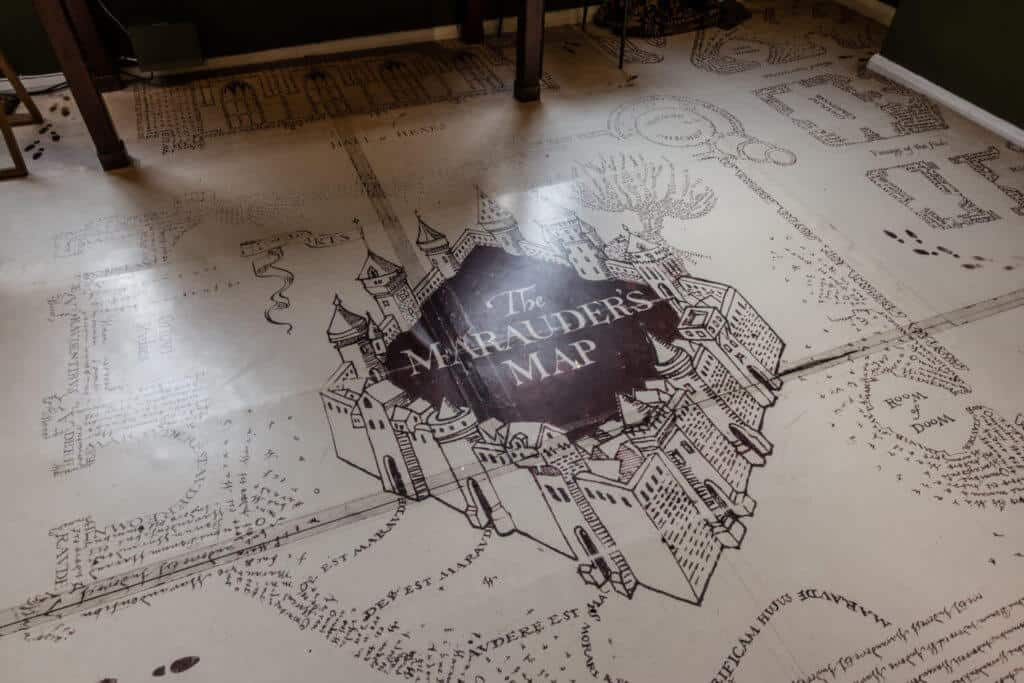 Detail of the Harry Potter Marauder's Map floor at MinaLima Gallery London