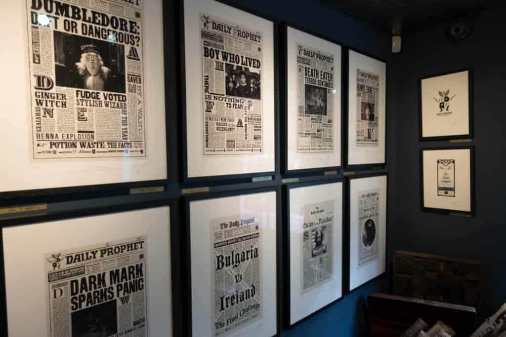 Harry Potter newspapers at the House of MinaLima Harry Potter Gallery London