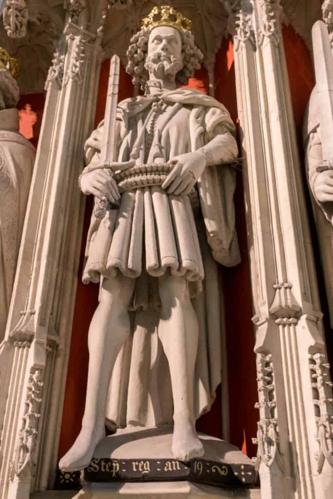 A photo of King Stephen of England on the York Minster Kings Screen York Minster Choir Screen