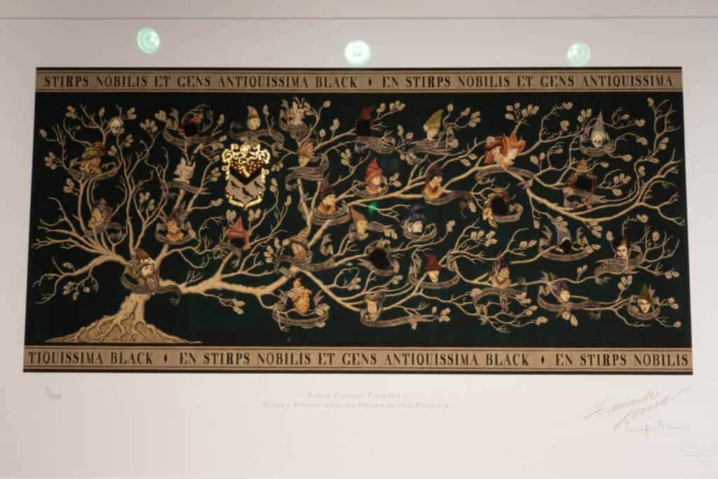 The Black family tree from Harry Potter at the House of MinaLima Harry Potter Gallery London