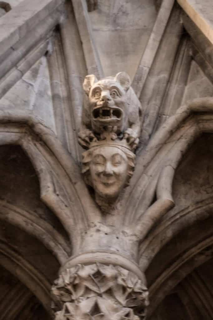 York Minster Chapter house carved head lion