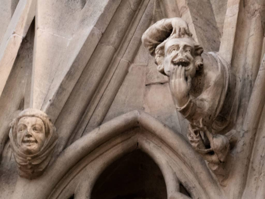 Face pullers and everyday people amid the stone heads at the York Minster chapter house