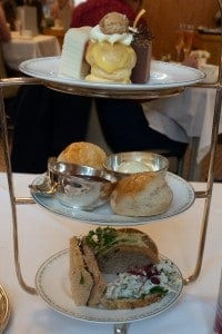 A plate of tea treats at Betty's Tea House in York