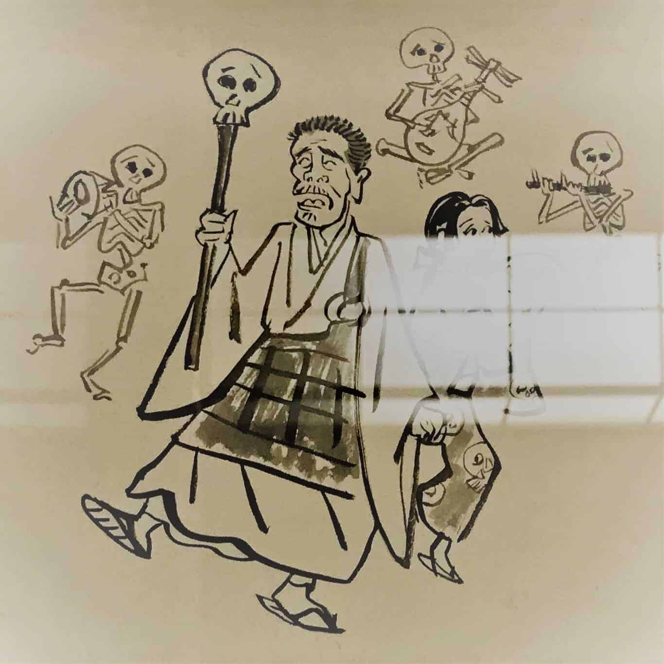 Caricature of Ikkyu dancing with skeletons