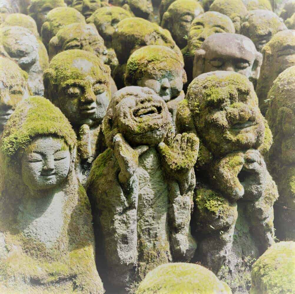 Some of the stone Buddhas as Otagi Nembutsu-ji temple in Kyoto