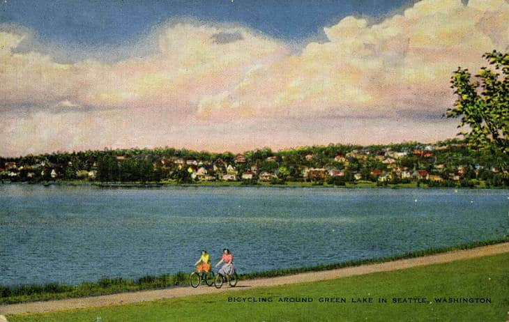 Cyclists at Greenlake Vintage Seattle Archives historic Seattle photos