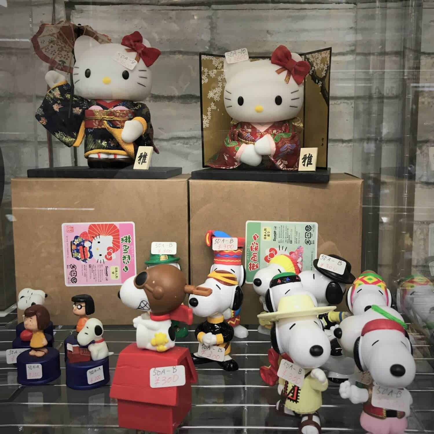 hello kitty and snoopy at galleriapart otaku kyoto geeky things to to in kyoto
