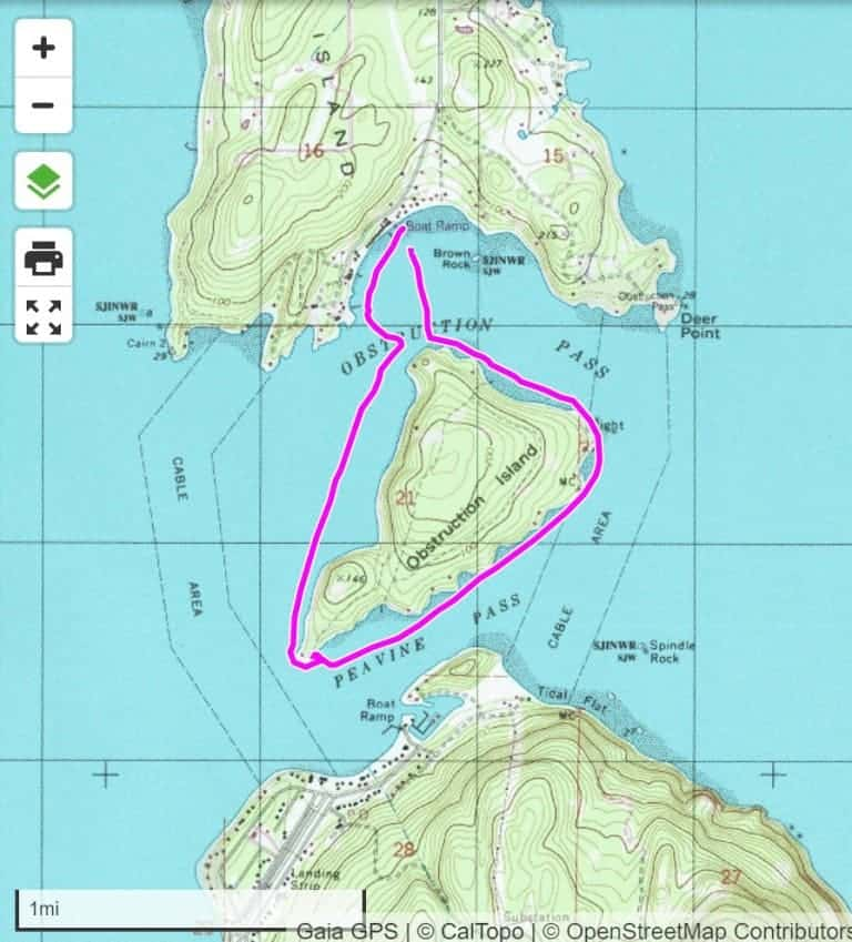Obstruction Island Circumnavigation Map