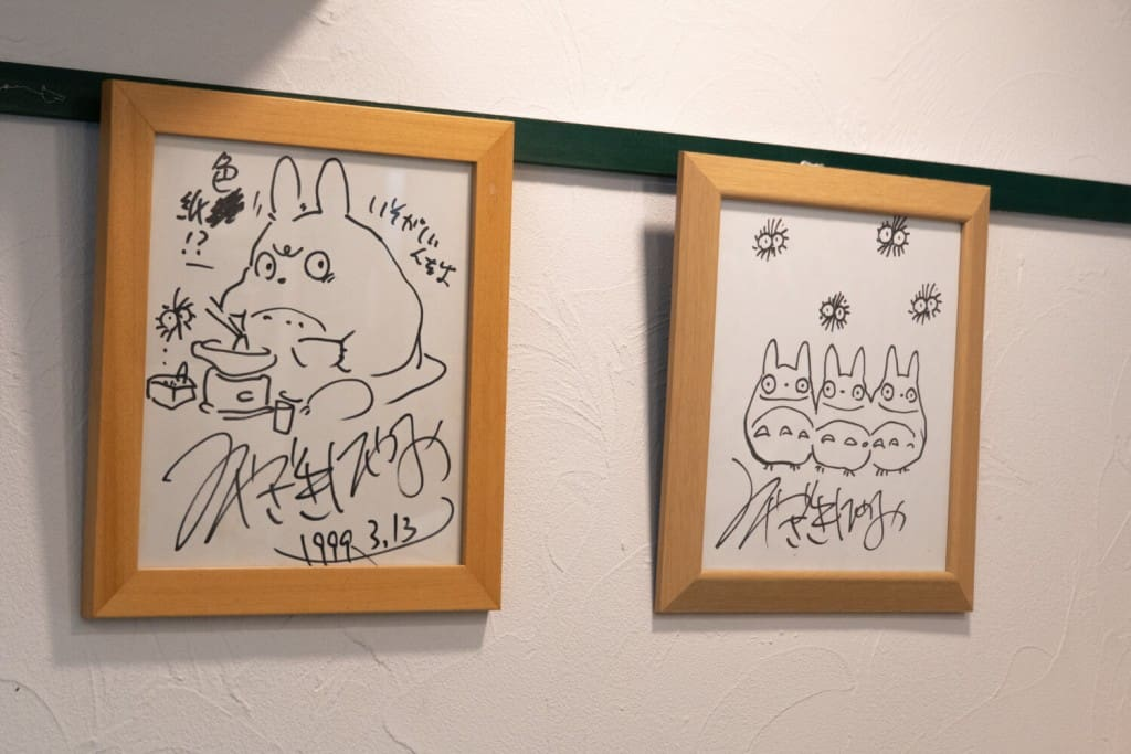 Original Miyazaki artwork at Shirohige Cream Puff Factory Totoro Cafe Totoro Cream Puffs