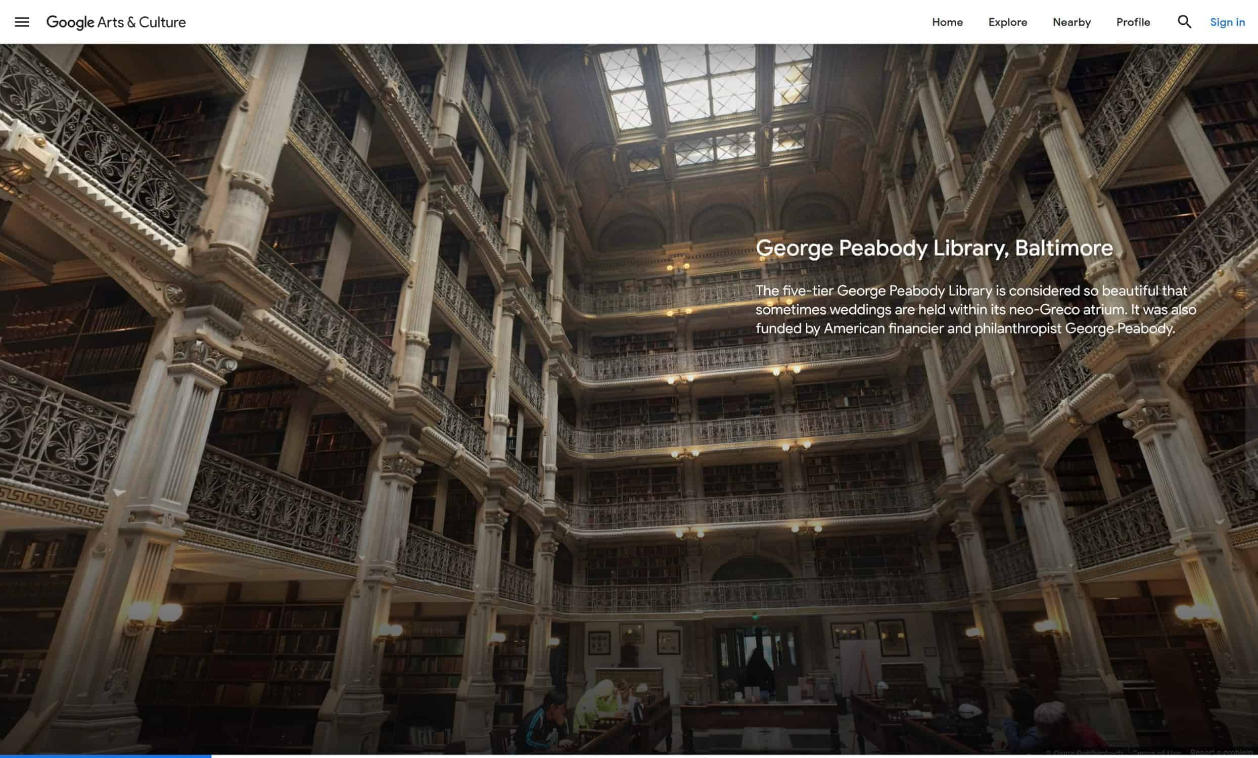 Peabody library Google arts and culture best vr travel experiences online virtual tours