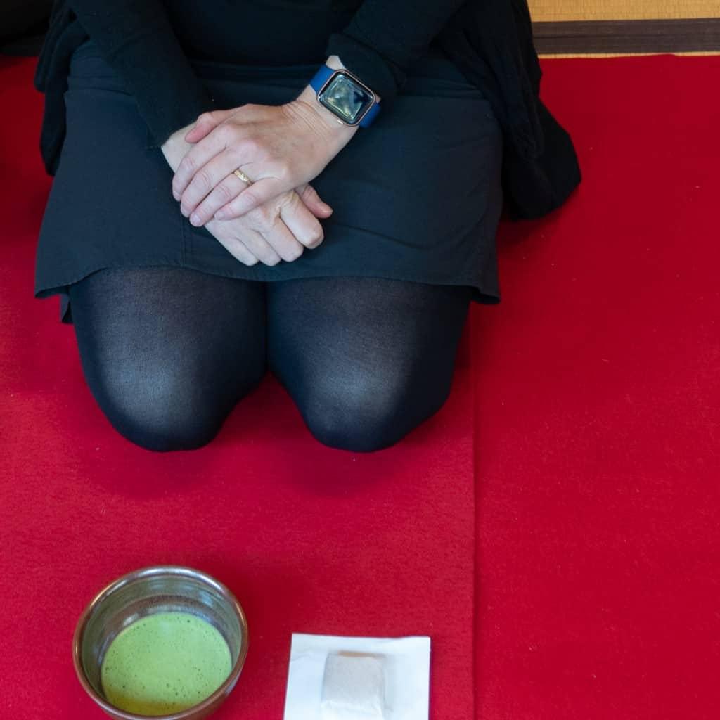 Having a bowl of macha at Nanzen-ji