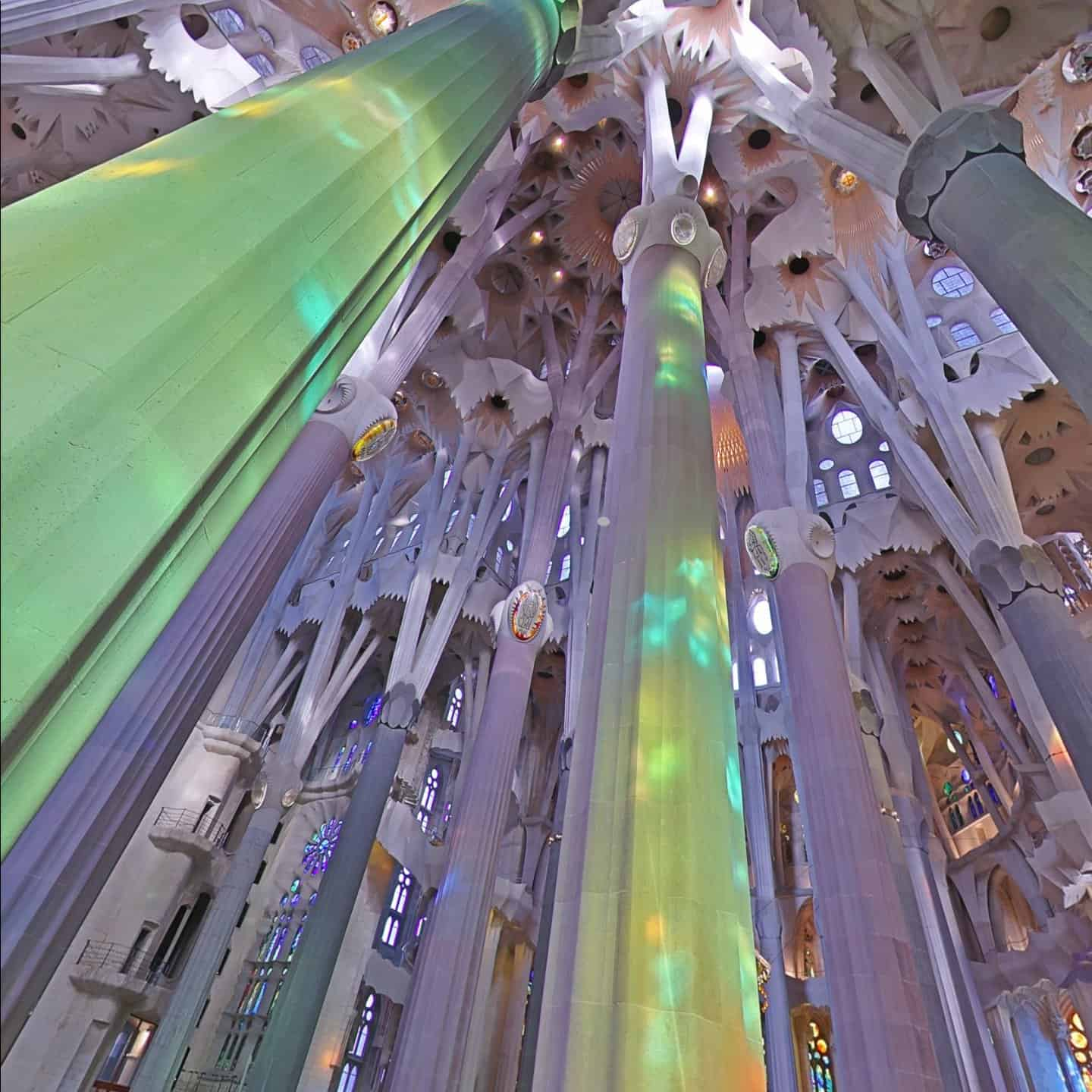 Sagrada Familia ceiling via Google street view Wander App online virtual tours