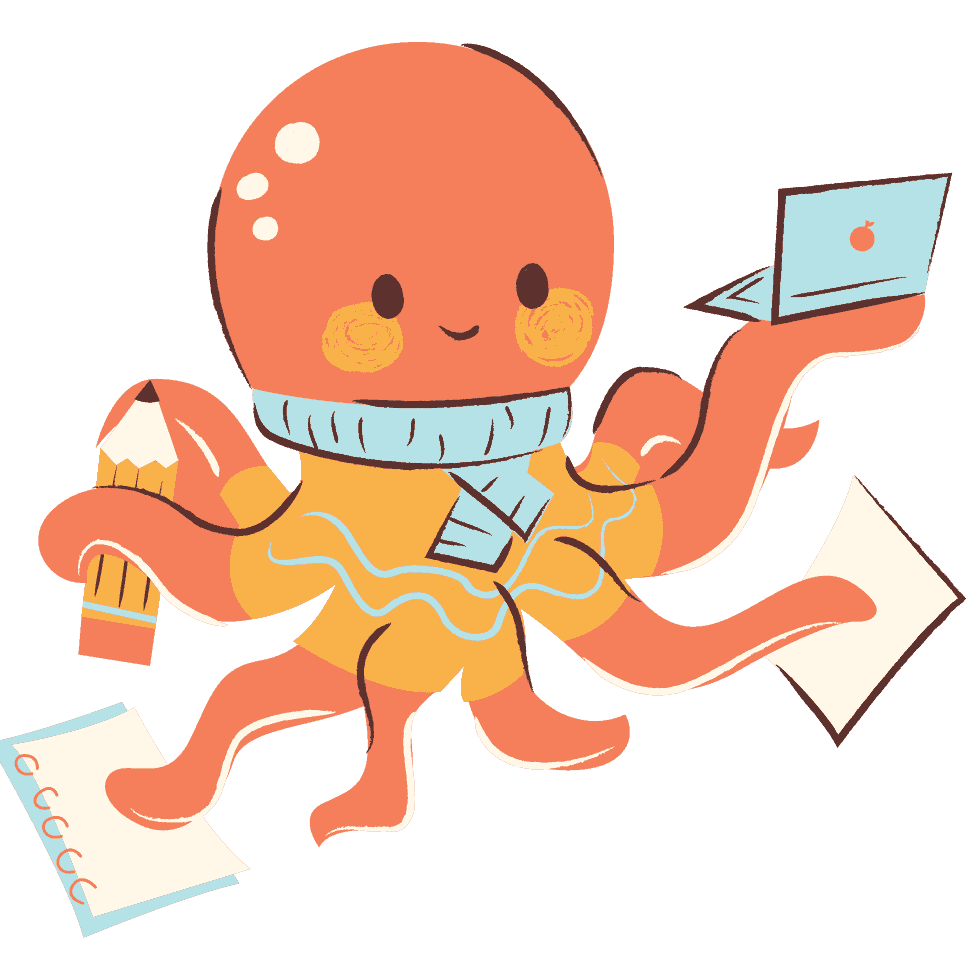 Submit an Event to Pacific Northwest and Event Calendar Image of a cute octopus holding a laptop and notebooks